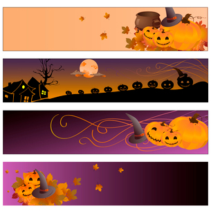 Vector illustration of halloween bannersのイラスト素材 [FYI03073110]
