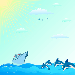 Vector illustration of Colorful useful background with dolphins and  Blue Boatのイラスト素材 [FYI03073112]