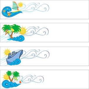 Vector illustration of summer holidays banner setのイラスト素材 [FYI03073114]