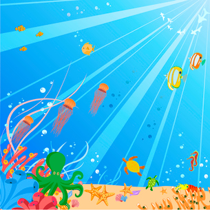 Vector illustration of Colorful background with creatures of the seas. Friendly kids style.のイラスト素材 [FYI03073115]
