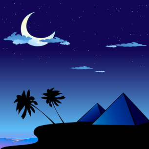 Vector illustration of romantic travel background with cartoon  skyline silhouettes of Pyramids in Eのイラスト素材 [FYI03073119]
