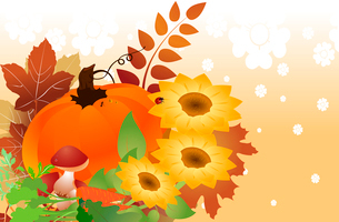 Vector illustration of bright thanksgiving day autumn backgroundのイラスト素材 [FYI03073120]