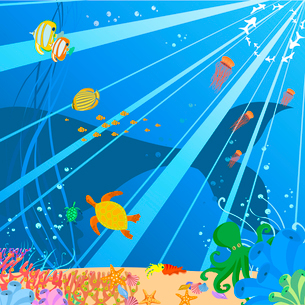 Vector illustration of Colorful background with creatures of the seas. Friendly kids style.のイラスト素材 [FYI03073130]