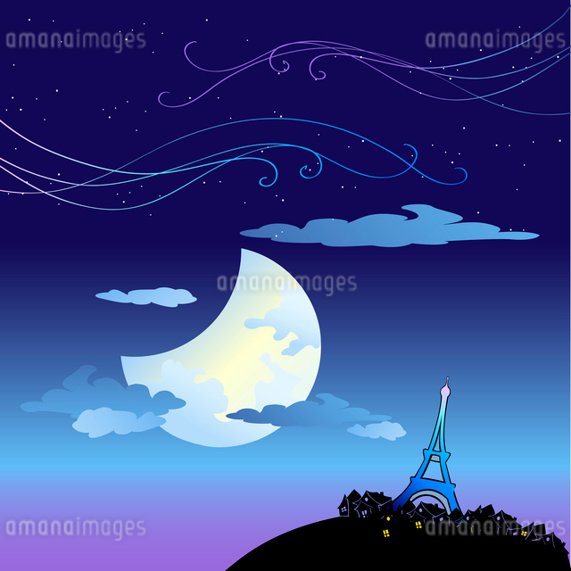 Vector Illustration of the Eiffel Tower built by Gustave Eiffel, on the Champ de Mars beside the Seiのイラスト素材 [FYI03073132]