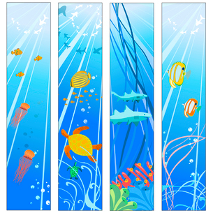 Vector illustration of Colorful banners set with creatures of the seas. Friendly kids style.のイラスト素材 [FYI03073135]