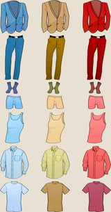 Vector illustration of cool Men clothes icon set in the different colorsのイラスト素材 [FYI03073141]
