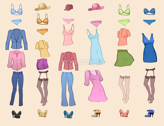 Vector illustration of cool women clothes icon set in the different colorsのイラスト素材 [FYI03073144]