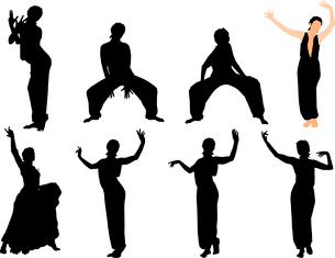Collection of vector illustrations of dancersのイラスト素材 [FYI03073206]