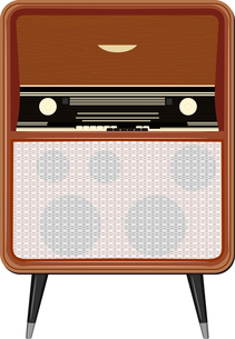 Vector illustration of an old radio on the legsのイラスト素材 [FYI03073215]