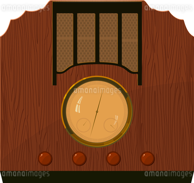 Vector illustration of an old  radio in  a wooden case. EPS10のイラスト素材 [FYI03073232]