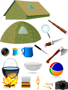Vector collection of tourist accessoriesのイラスト素材 [FYI03073238]