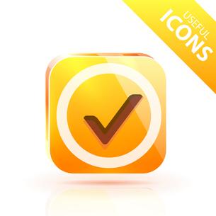 Glossy yellow orange metallic buttonのイラスト素材 [FYI03073595]