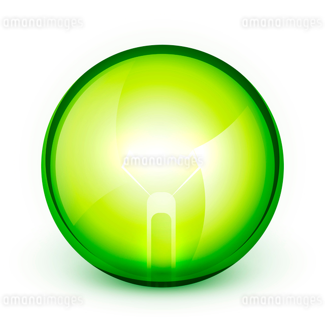 Green light bublb energy saving conceptのイラスト素材 [FYI03073627]