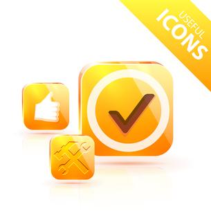 Glossy yellow orange metallic buttonのイラスト素材 [FYI03073641]