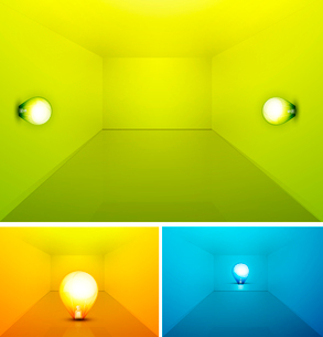 Shiny colored empty interioir with light bulbのイラスト素材 [FYI03074018]