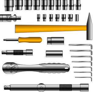 vector set of different tools over white backgroundのイラスト素材 [FYI03074587]