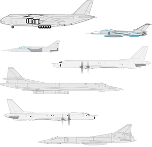 Combat aircraft. Team. Colored vector illustration for designersのイラスト素材 [FYI03074640]