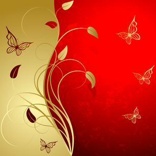 Red background with elegance  gold plant and butterfliesのイラスト素材 [FYI03074683]