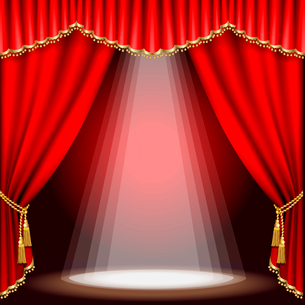Theater stage  with red curtain. Clipping Mask. Mesh.のイラスト素材 [FYI03074685]