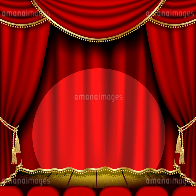 Theater stage  with red curtain. Clipping Maskのイラスト素材 [FYI03074687]