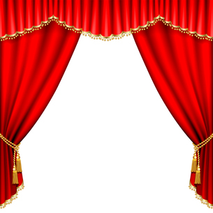 Theater stage  with red curtain. Isolated on white.のイラスト素材 [FYI03074690]