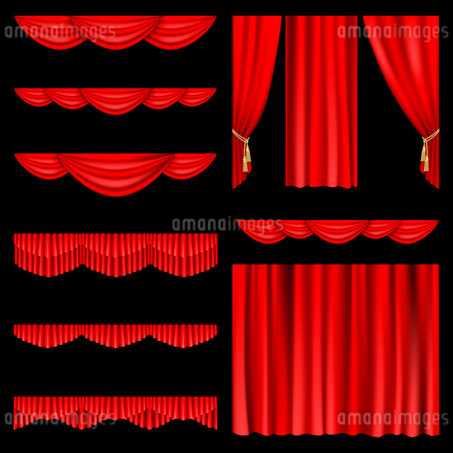 Set of red curtains to theater stage. Mesh.のイラスト素材 [FYI03074691]