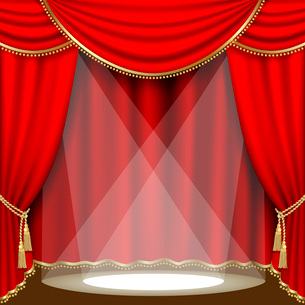 Theater stage  with red curtain. Clipping Mask. Mesh.のイラスト素材 [FYI03074692]