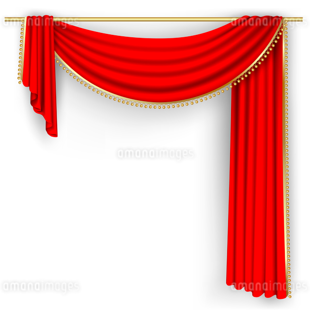 Theater stage  with red curtain. Clipping Mask. Mesh.のイラスト素材 [FYI03074696]
