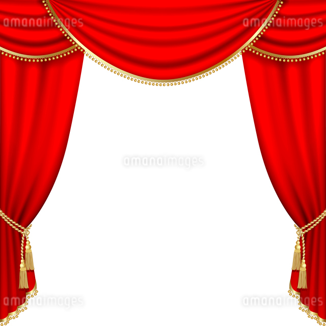 Theater stage  with red curtain. Clipping Mask. Mesh.のイラスト素材 [FYI03074700]