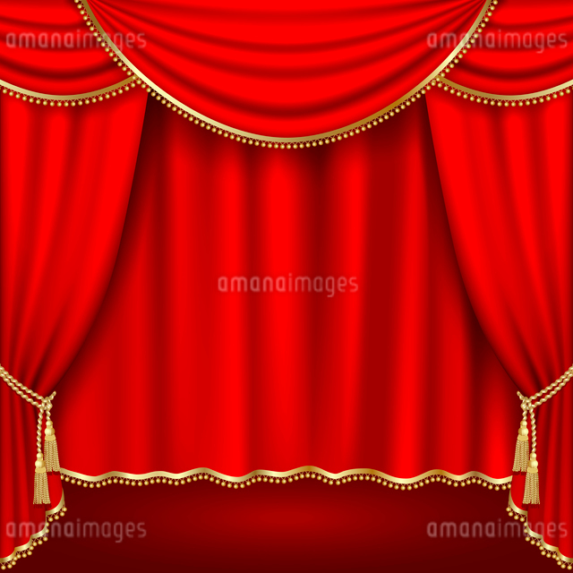 Theater stage  with red curtain. Clipping Maskのイラスト素材 [FYI03074718]