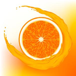 A  orange with a wave juice on  orange backgroundのイラスト素材 [FYI03074720]