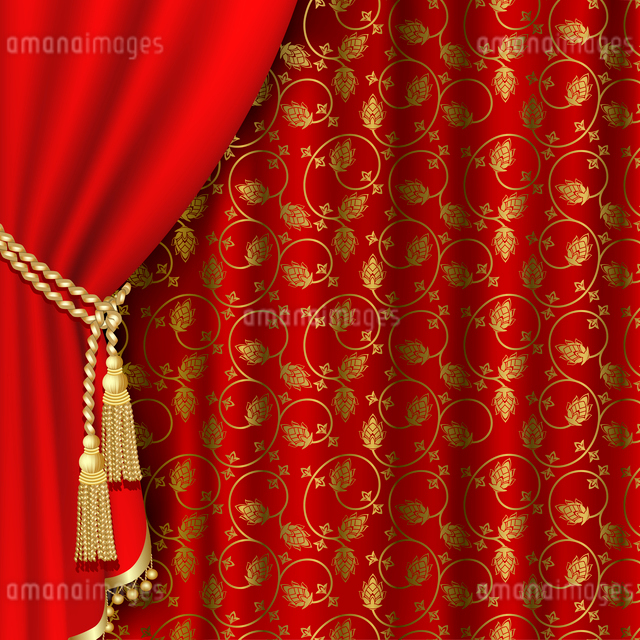 Red curtain with gold pattern. Clipping Maskのイラスト素材 [FYI03074734]
