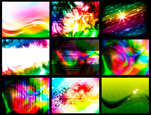 set of 9 colorful backgrounds, vector EPS10のイラスト素材 [FYI03075308]