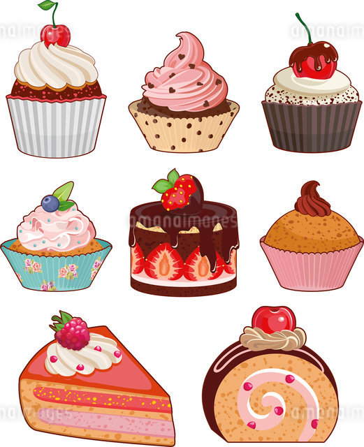 Set of appetizing cakes with different berries and stuffingsのイラスト素材 [FYI03075524]