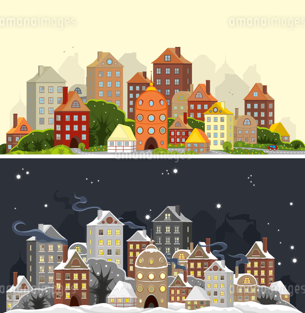 Two images of one city landscape in summer and winter timeのイラスト素材 [FYI03075533]