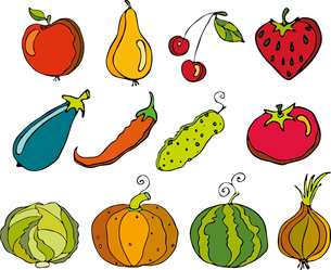 Vector set of fruit and vegetables on a white background with a tapeのイラスト素材 [FYI03075536]