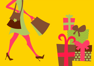 Vector illustration of shopping girl. Includes shopping bags and present boxesのイラスト素材 [FYI03075544]