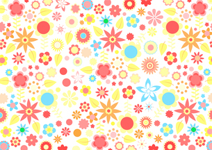 Vector illustration of multicolored funky flowers and leaves retro pattern on white backgroundのイラスト素材 [FYI03075545]