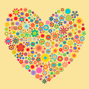Vector illustration of heart  pattern made up of flower shapes. Good  for Valentine Cards.のイラスト素材 [FYI03075550]