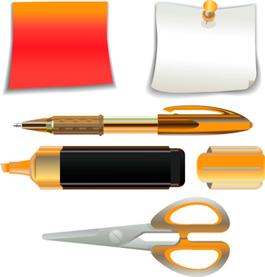 Vector Illustration of the office supplies icon set.のイラスト素材 [FYI03075562]