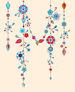 Vector Illustration of Decorative Wind Chimes with floral ornament designのイラスト素材 [FYI03075564]