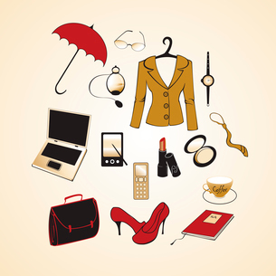 Vector illustration of different items related to business woman lifestyle.のイラスト素材 [FYI03075583]