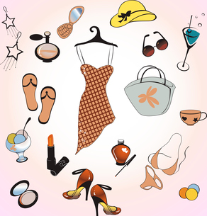 Vector illustration of different items related to glamour summer lifestyle.のイラスト素材 [FYI03075584]