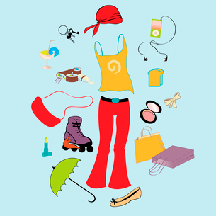 Vector illustration of different items related to sport and urban lifestyle.のイラスト素材 [FYI03075587]