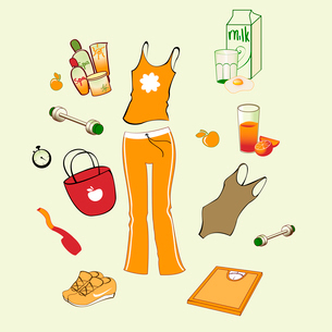 Vector illustration of different items related to sport and healthy lifestyleのイラスト素材 [FYI03075588]