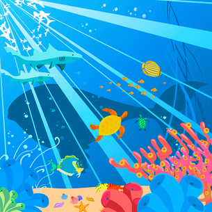 Vector illustration of Colorful background with creatures of the seas. Friendly kids style.のイラスト素材 [FYI03075598]