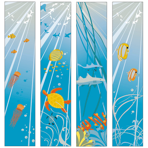 Vector illustration of Colorful banners set with creatures of the seas. Friendly kids style.のイラスト素材 [FYI03075608]