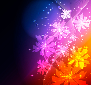 Abstract glowing background with floral elementsのイラスト素材 [FYI03075697]