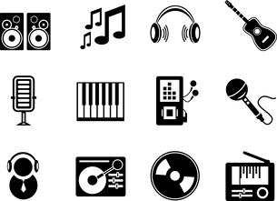 Set of black music electronic icons isolated on whiteのイラスト素材 [FYI03076236]