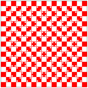 illusion of volume in red and white squaresのイラスト素材 [FYI03076382]